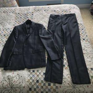 Young mens J Ferrar slim fit gray herringbone suit